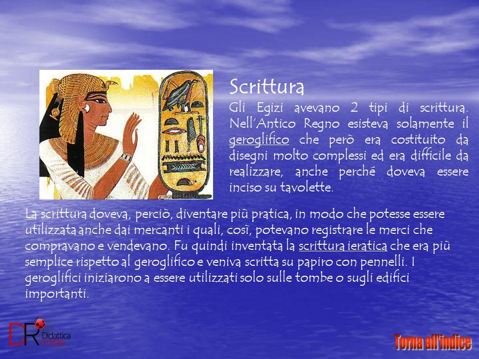 Scrittura Gli Egizi avevano 2 tipi di scrittura. Nell'Antico Regno esisteva solamente il geroglifico che però era costituito da disegni molto compless