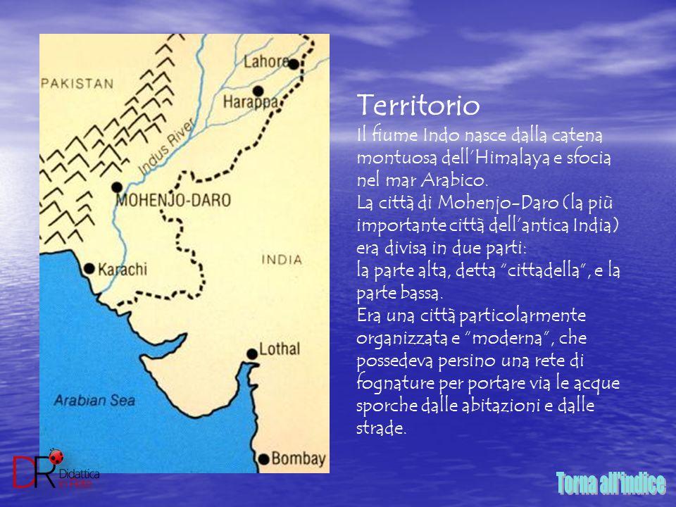 Territorio Il fiume Indo nasce dalla catena montuosa dell'Himalaya e sfocia nel mar Arabico. La città di Mohenjo-Daro (la più importante città dell'an