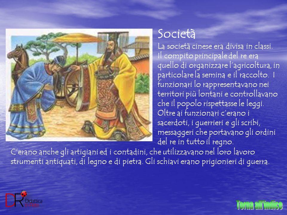 Società La società cinese era divisa in classi. Il compito principale del re era quello di organizzare l'agricoltura, in particolare la semina e il ra