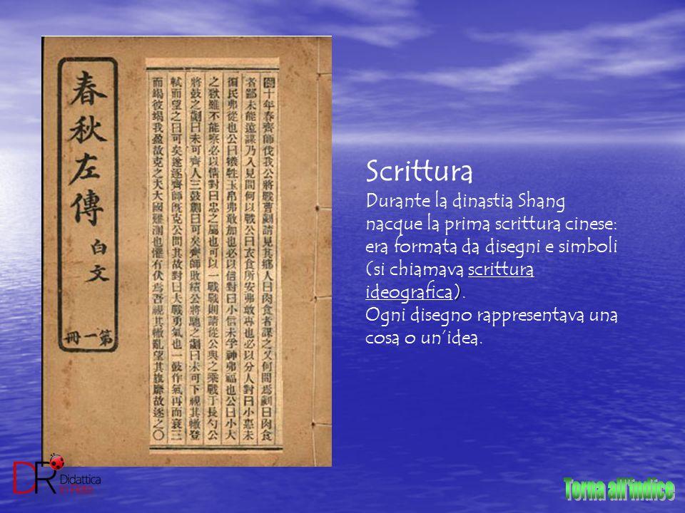 Scrittura ) Durante la dinastia Shang nacque la prima scrittura cinese: era formata da disegni e simboli (si chiamava scrittura ideografica). Ogni dis
