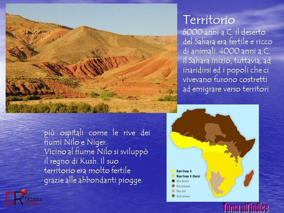 Territorio 6000 anni a.C. il deserto del Sahara era fertile e ricco di animali. 4000 anni a.C. il Sahara iniziò, tuttavia, ad inaridirsi ed i popoli c