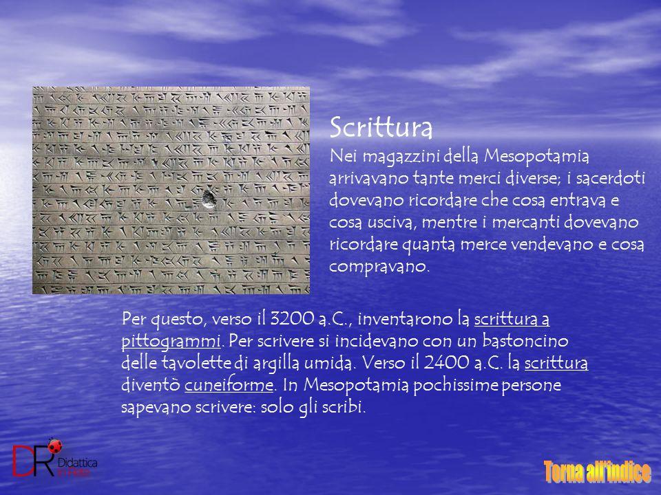 Scrittura Nei magazzini della Mesopotamia arrivavano tante merci diverse; i sacerdoti dovevano ricordare che cosa entrava e cosa usciva, mentre i merc