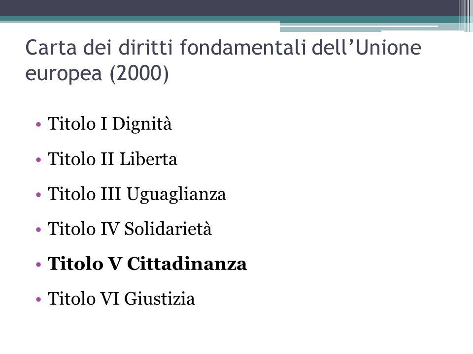 Cittadinanza europea (Art.9 Trattato di Lisbona) e art.