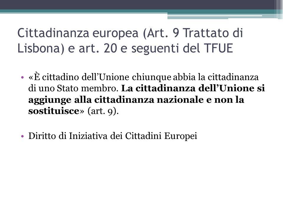 Cittadinanza europea (Art. 9 Trattato di Lisbona) e art.