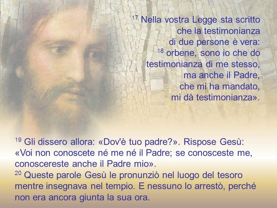 12 Di nuovo Gesù parlò loro: «Io sono la luce del mondo; chi segue me, non camminerà nelle tenebre, ma avrà la luce della vita».
