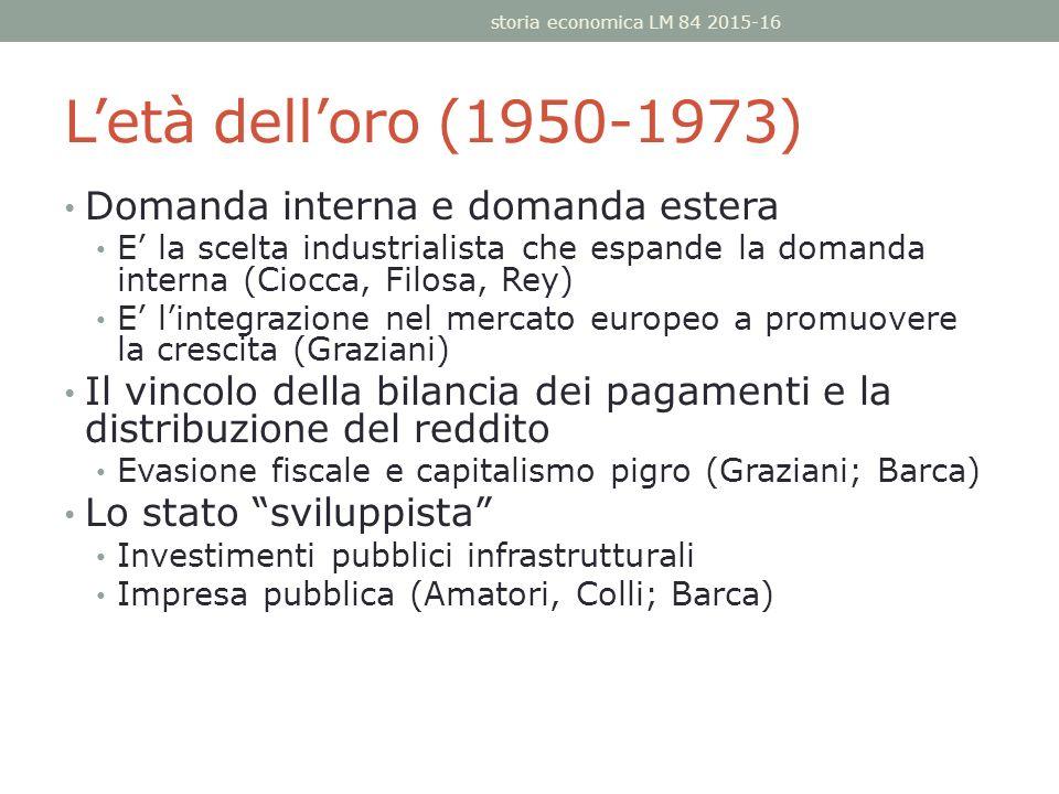L'età dell'oro (1950-1973) Domanda interna e domanda estera E' la scelta industrialista che espande la domanda interna (Ciocca, Filosa, Rey) E' l'integrazione nel mercato europeo a promuovere la crescita (Graziani) Il vincolo della bilancia dei pagamenti e la distribuzione del reddito Evasione fiscale e capitalismo pigro (Graziani; Barca) Lo stato sviluppista Investimenti pubblici infrastrutturali Impresa pubblica (Amatori, Colli; Barca) storia economica LM 84 2015-16