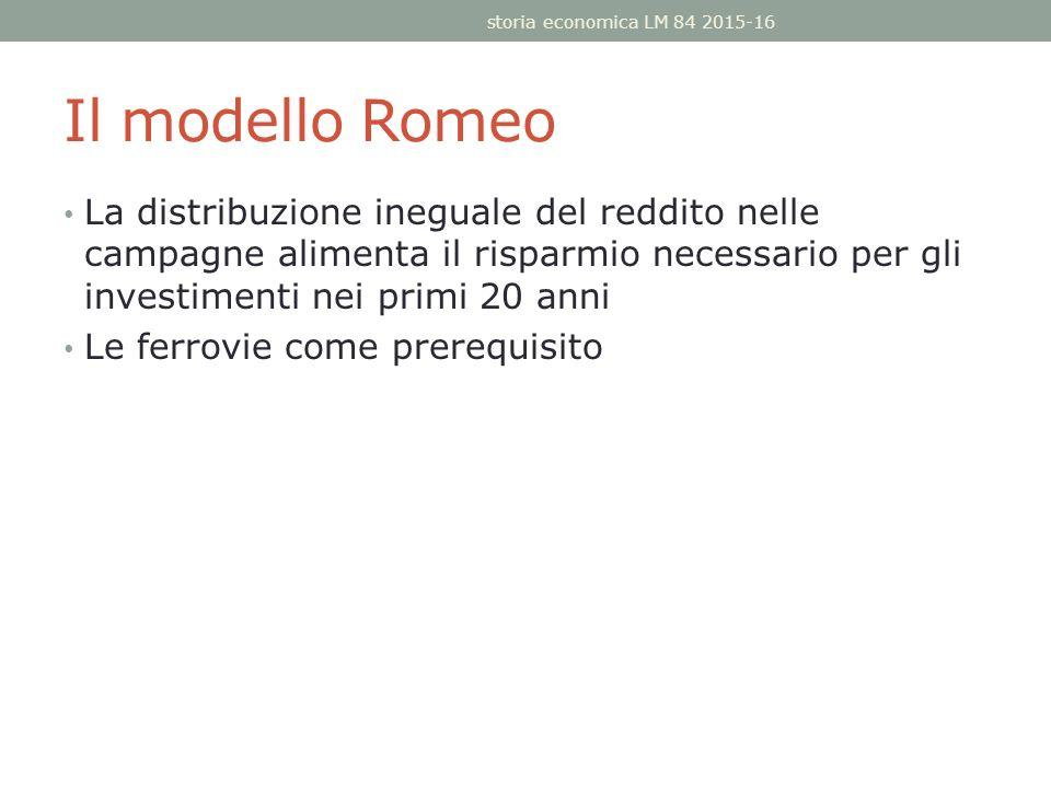 Il modello Romeo La distribuzione ineguale del reddito nelle campagne alimenta il risparmio necessario per gli investimenti nei primi 20 anni Le ferrovie come prerequisito storia economica LM 84 2015-16