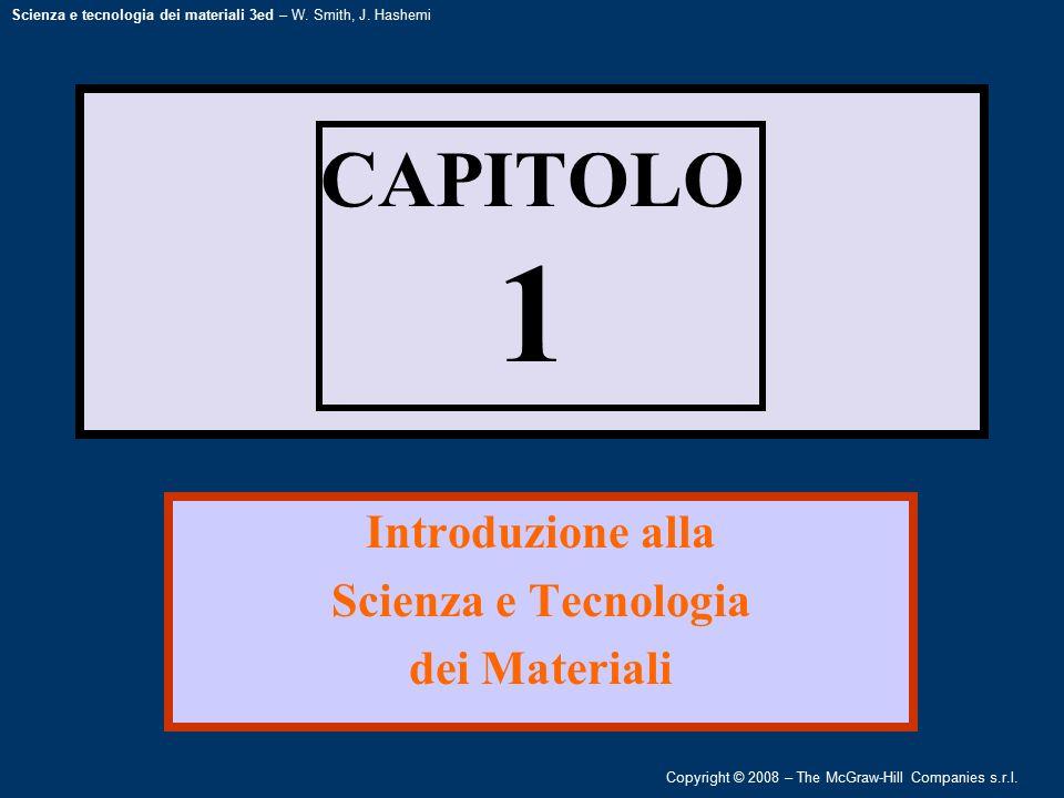 Copyright © 2008 – The McGraw-Hill Companies s.r.l. Scienza e tecnologia dei materiali 3ed – W. Smith, J. Hashemi CAPITOLO 1 Introduzione alla Scienza