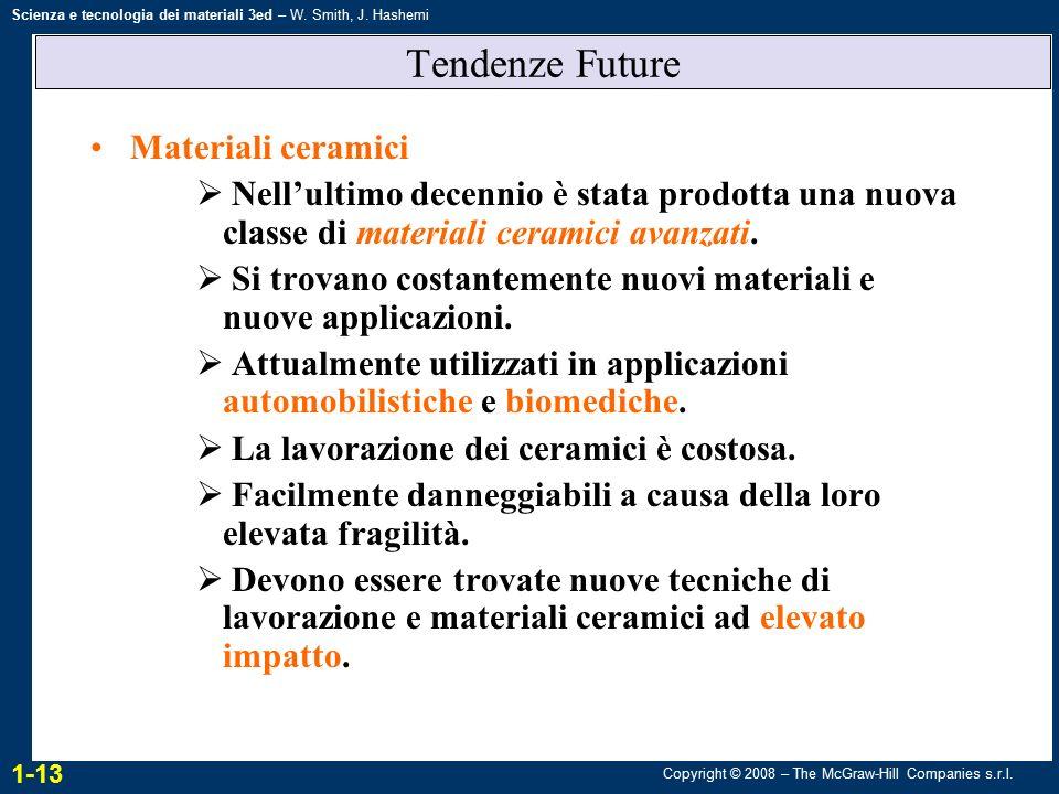 Copyright © 2008 – The McGraw-Hill Companies s.r.l. Scienza e tecnologia dei materiali 3ed – W. Smith, J. Hashemi Tendenze Future Materiali ceramici 