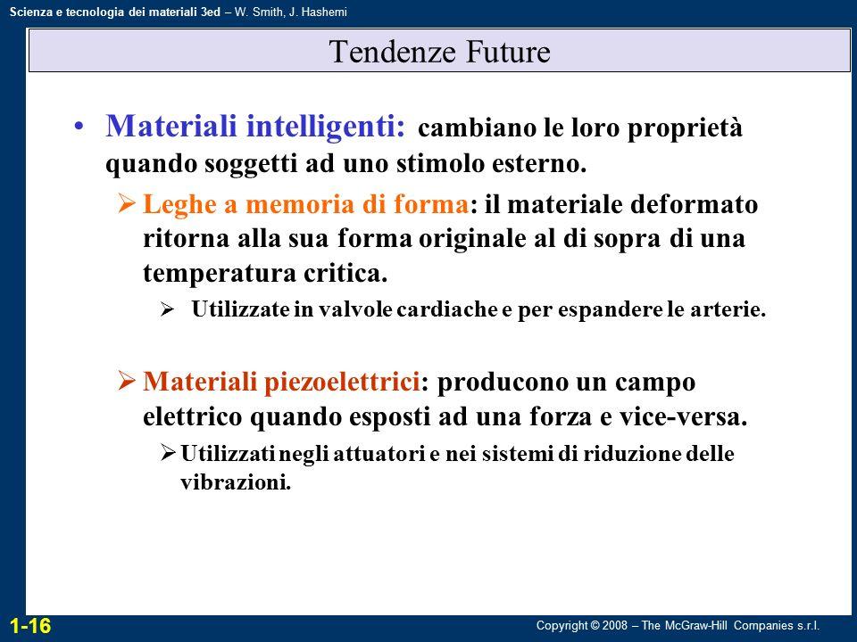 Copyright © 2008 – The McGraw-Hill Companies s.r.l. Scienza e tecnologia dei materiali 3ed – W. Smith, J. Hashemi Tendenze Future Materiali intelligen