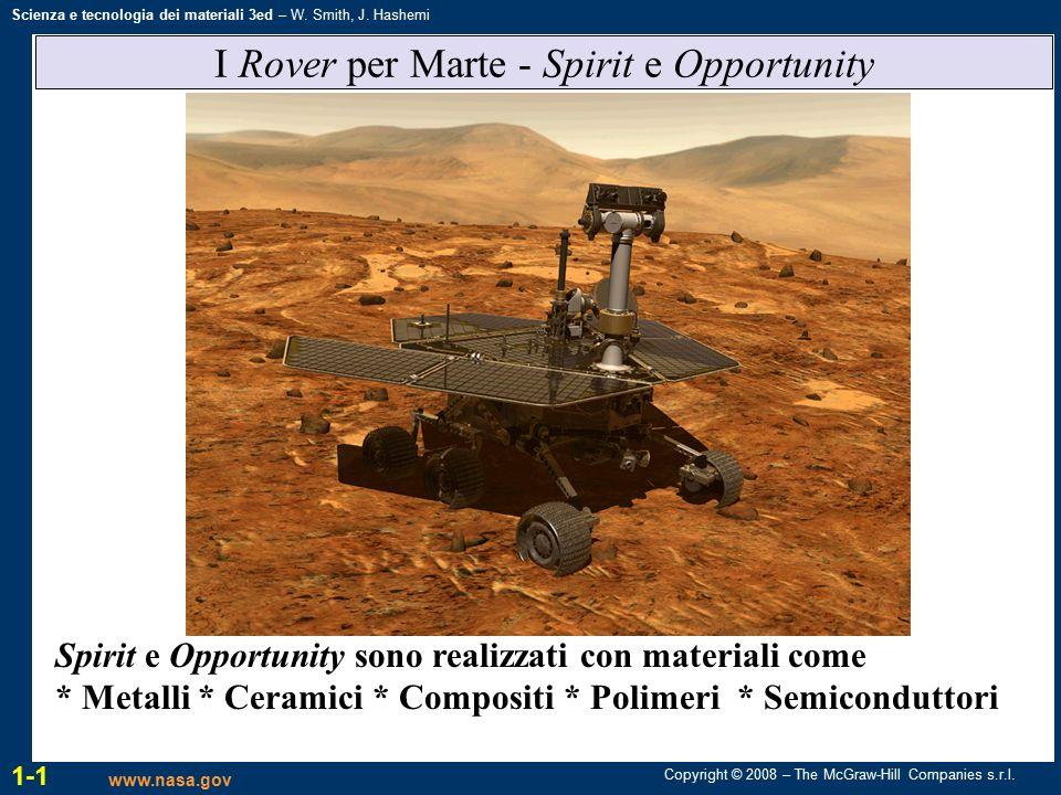 Copyright © 2008 – The McGraw-Hill Companies s.r.l. Scienza e tecnologia dei materiali 3ed – W. Smith, J. Hashemi I Rover per Marte - Spirit e Opportu