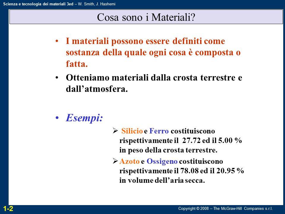 Copyright © 2008 – The McGraw-Hill Companies s.r.l. Scienza e tecnologia dei materiali 3ed – W. Smith, J. Hashemi Cosa sono i Materiali? I materiali p