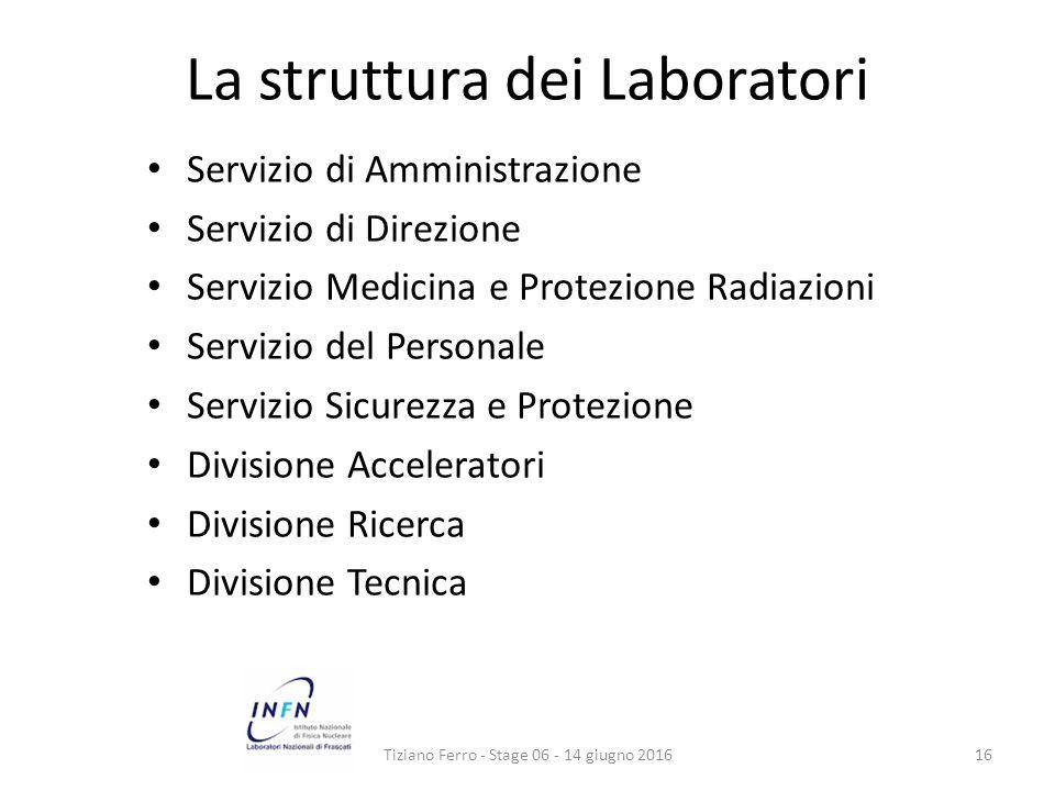 La struttura dei Laboratori Servizio di Amministrazione Servizio di Direzione Servizio Medicina e Protezione Radiazioni Servizio del Personale Servizio Sicurezza e Protezione Divisione Acceleratori Divisione Ricerca Divisione Tecnica Tiziano Ferro - Stage 06 - 14 giugno 201616