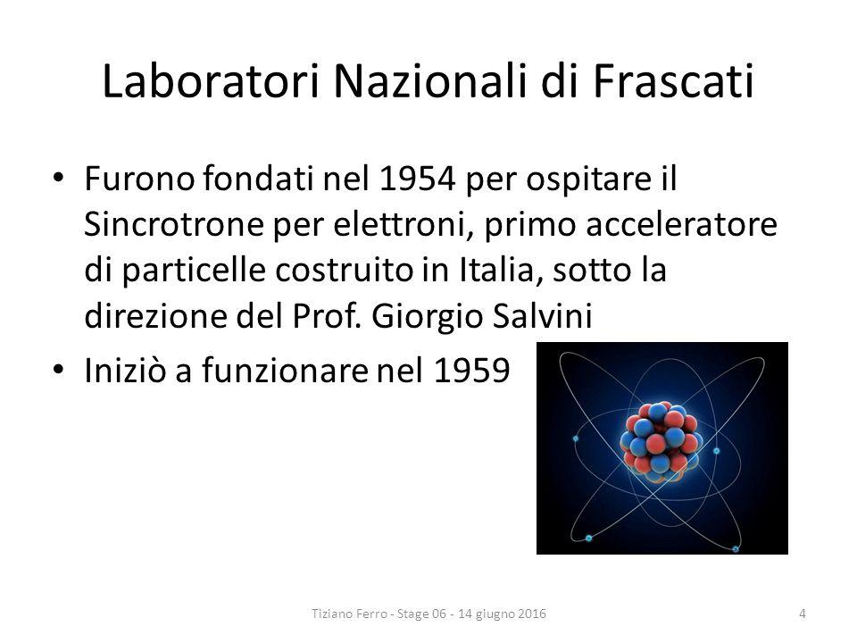 Laboratori Nazionali di Frascati Furono fondati nel 1954 per ospitare il Sincrotrone per elettroni, primo acceleratore di particelle costruito in Italia, sotto la direzione del Prof.
