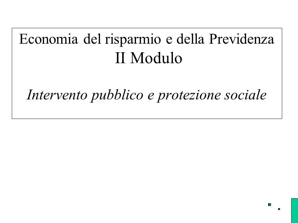 Economia del risparmio e della Previdenza II Modulo Intervento pubblico e protezione sociale