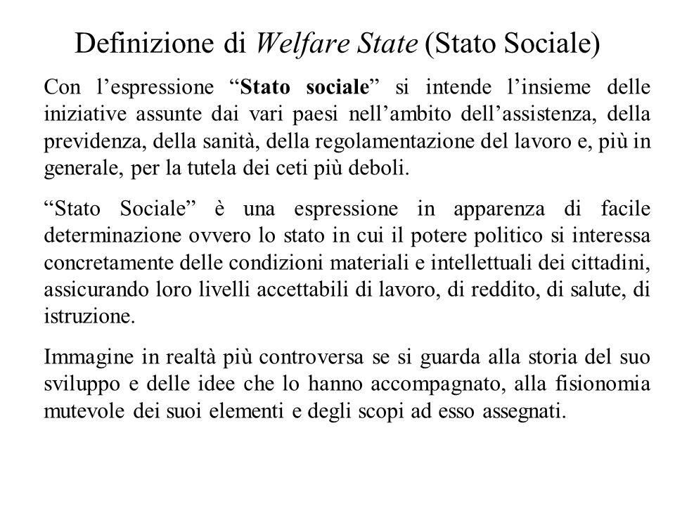 Definizione di Welfare State (Stato Sociale) Con l'espressione Stato sociale si intende l'insieme delle iniziative assunte dai vari paesi nell'ambito dell'assistenza, della previdenza, della sanità, della regolamentazione del lavoro e, più in generale, per la tutela dei ceti più deboli.