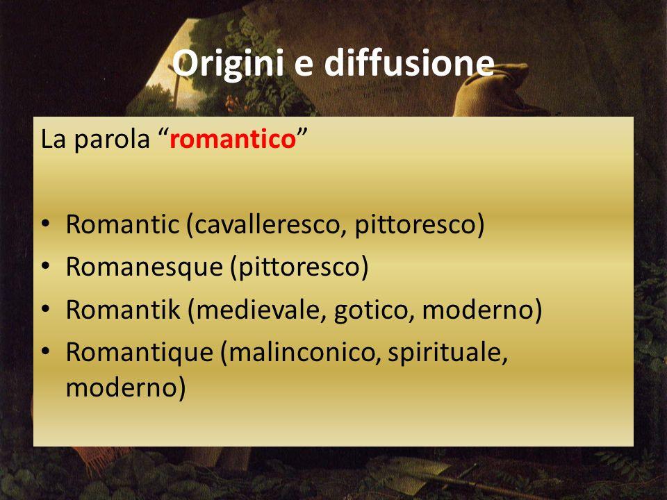 Origini e diffusione La parola romantico Romantic (cavalleresco, pittoresco) Romanesque (pittoresco) Romantik (medievale, gotico, moderno) Romantique (malinconico, spirituale, moderno)