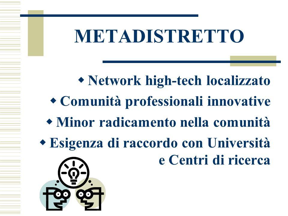 METADISTRETTO  Network high-tech localizzato  Comunità professionali innovative  Minor radicamento nella comunità  Esigenza di raccordo con Università e Centri di ricerca