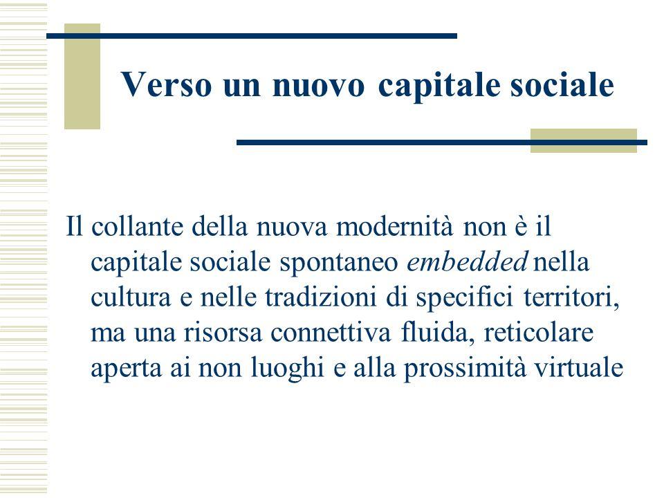 Verso un nuovo capitale sociale Il collante della nuova modernità non è il capitale sociale spontaneo embedded nella cultura e nelle tradizioni di specifici territori, ma una risorsa connettiva fluida, reticolare aperta ai non luoghi e alla prossimità virtuale