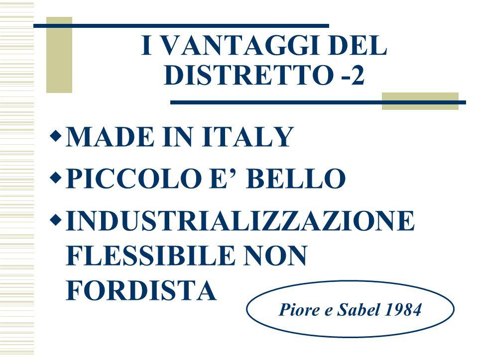 I VANTAGGI DEL DISTRETTO -2  MADE IN ITALY  PICCOLO E' BELLO  INDUSTRIALIZZAZIONE FLESSIBILE NON FORDISTA Piore e Sabel 1984