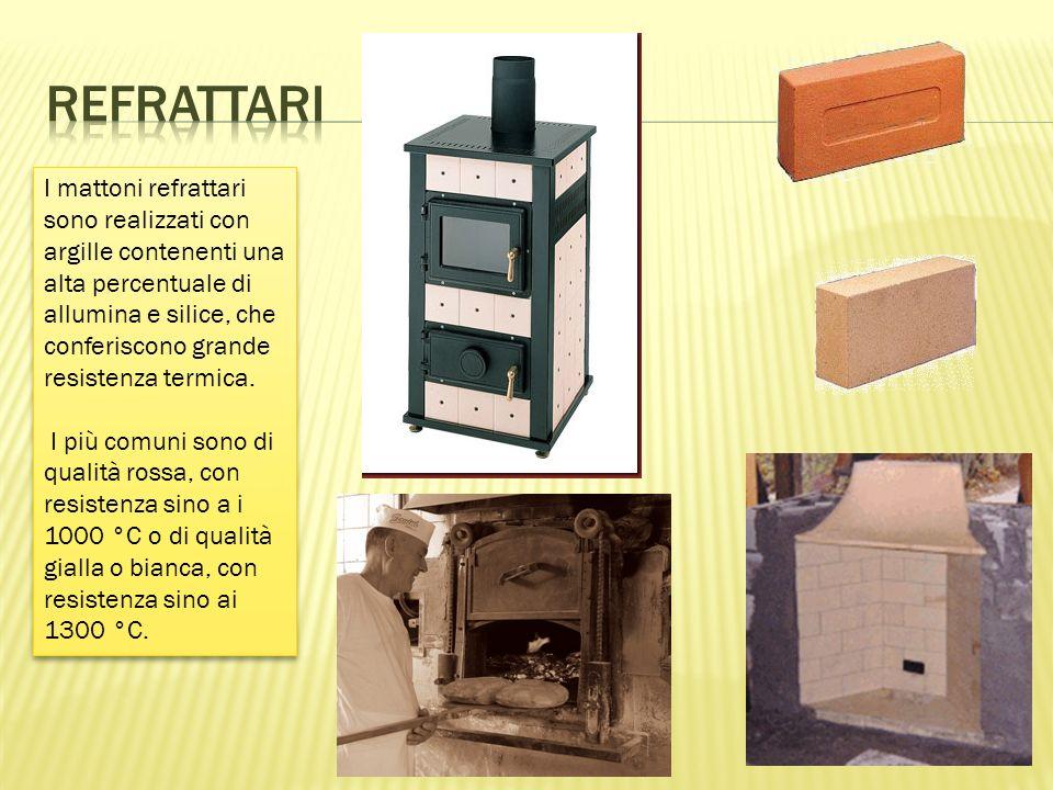 I mattoni refrattari sono realizzati con argille contenenti una alta percentuale di allumina e silice, che conferiscono grande resistenza termica.