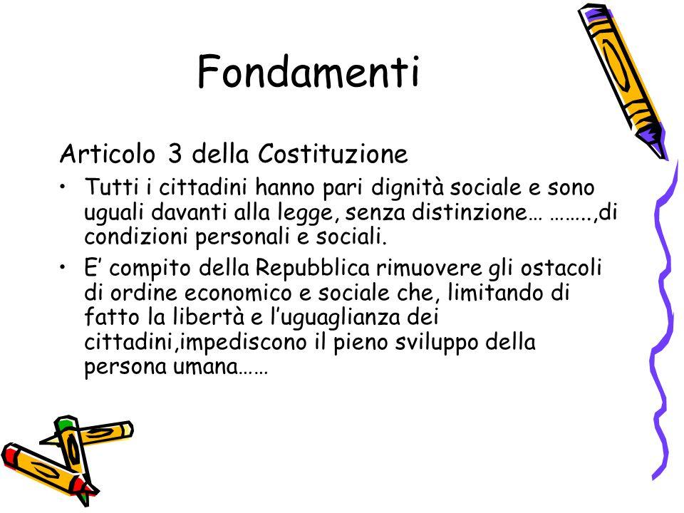 Fondamenti Articolo 3 della Costituzione Tutti i cittadini hanno pari dignità sociale e sono uguali davanti alla legge, senza distinzione… ……..,di condizioni personali e sociali.