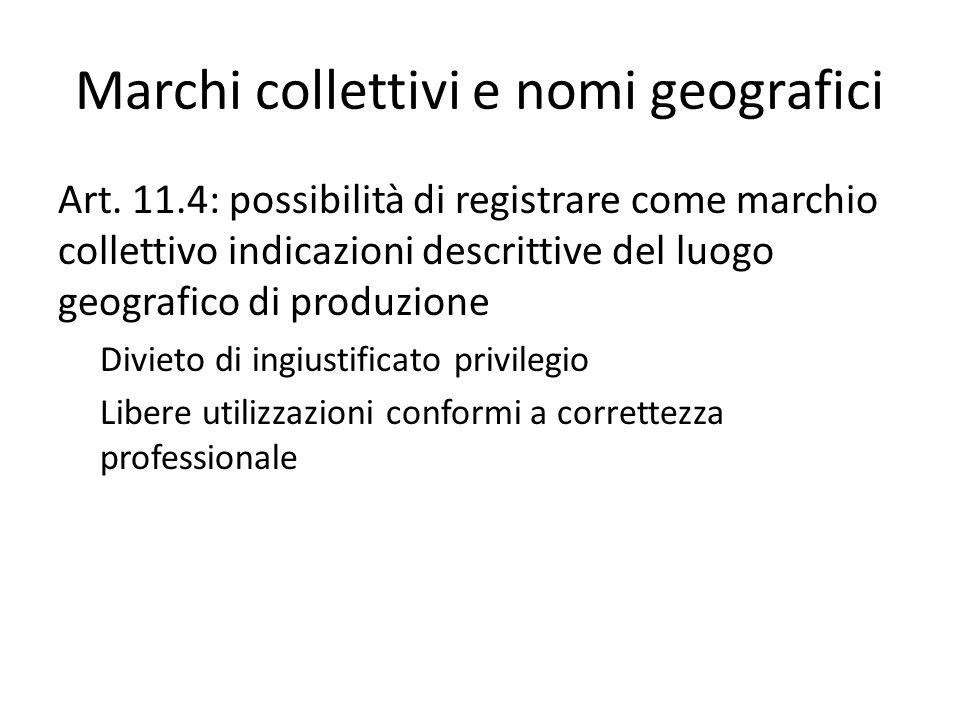 Marchi collettivi e nomi geografici Art.