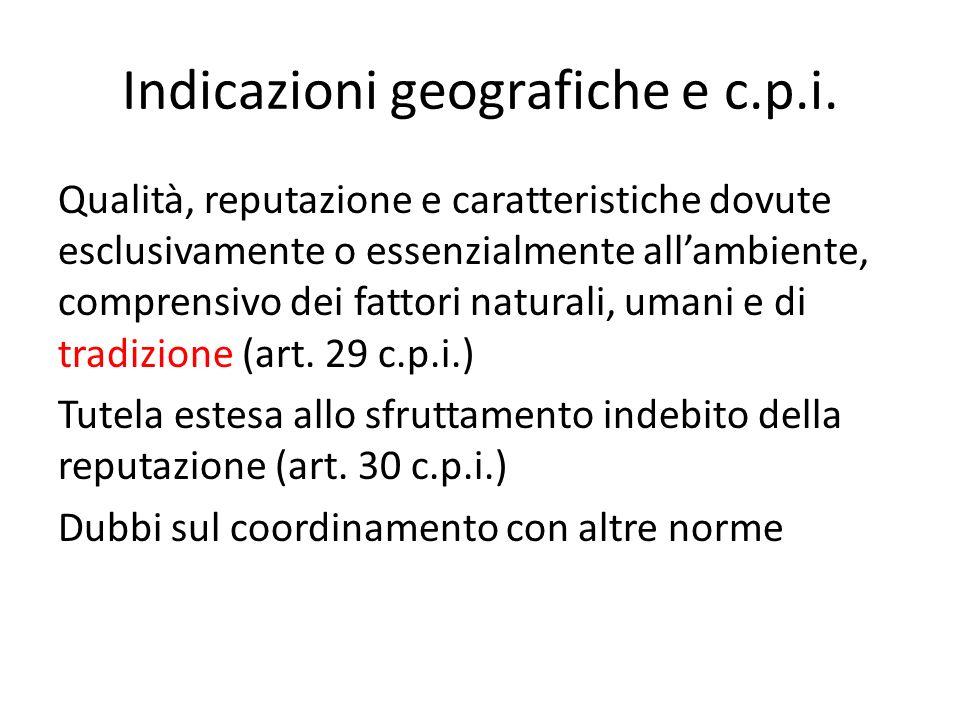Indicazioni geografiche e c.p.i.