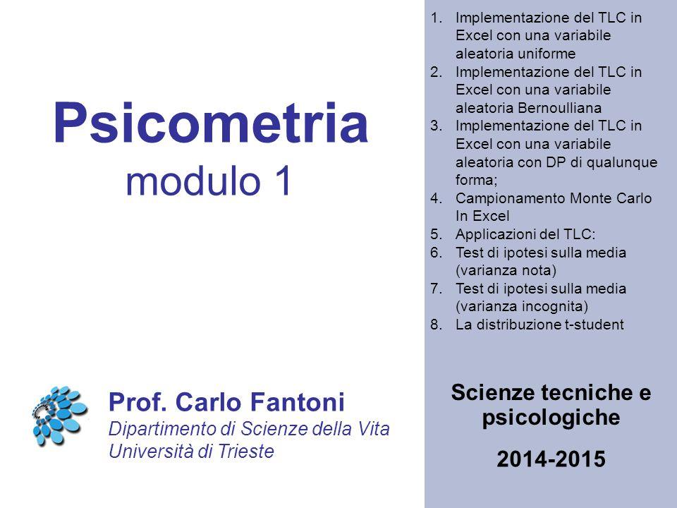 Psicometria modulo 1 Scienze tecniche e psicologiche Prof.