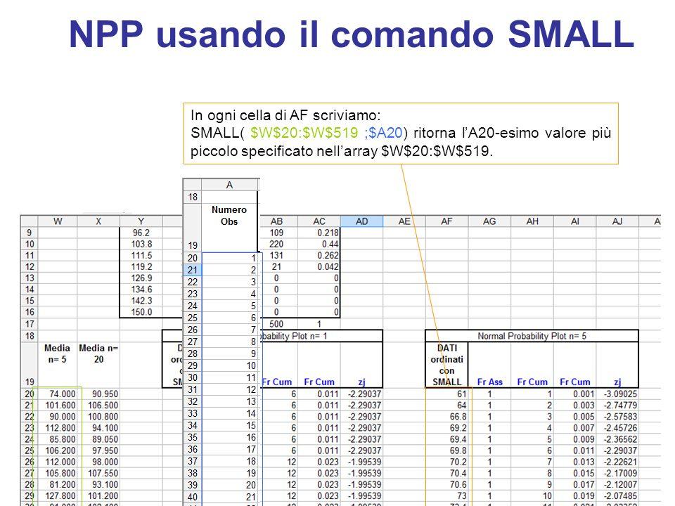 NPP usando il comando SMALL In ogni cella di AF scriviamo: SMALL( $W$20:$W$519 ;$A20) ritorna l'A20-esimo valore più piccolo specificato nell'array $W$20:$W$519.