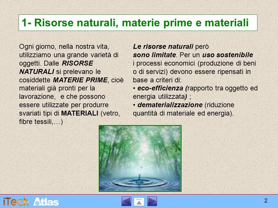 1- Risorse naturali, materie prime e materiali Ogni giorno, nella nostra vita, utilizziamo una grande varietà di oggetti. Dalle RISORSE NATURALI si pr