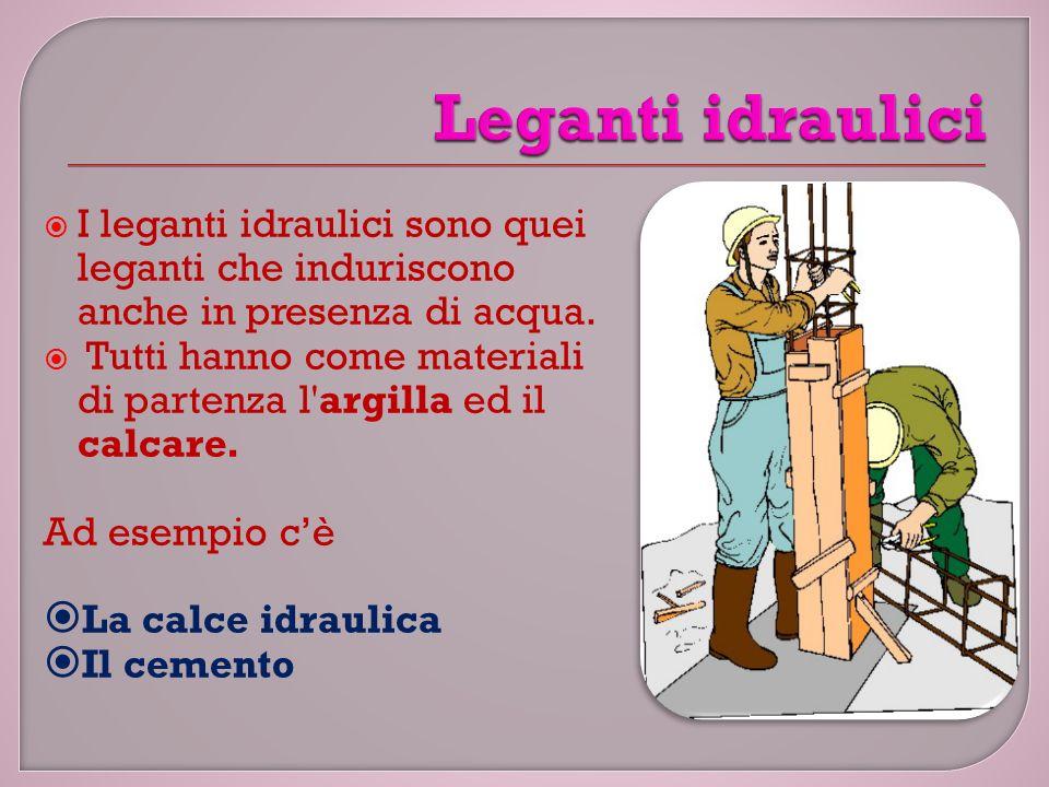  I leganti idraulici sono quei leganti che induriscono anche in presenza di acqua.