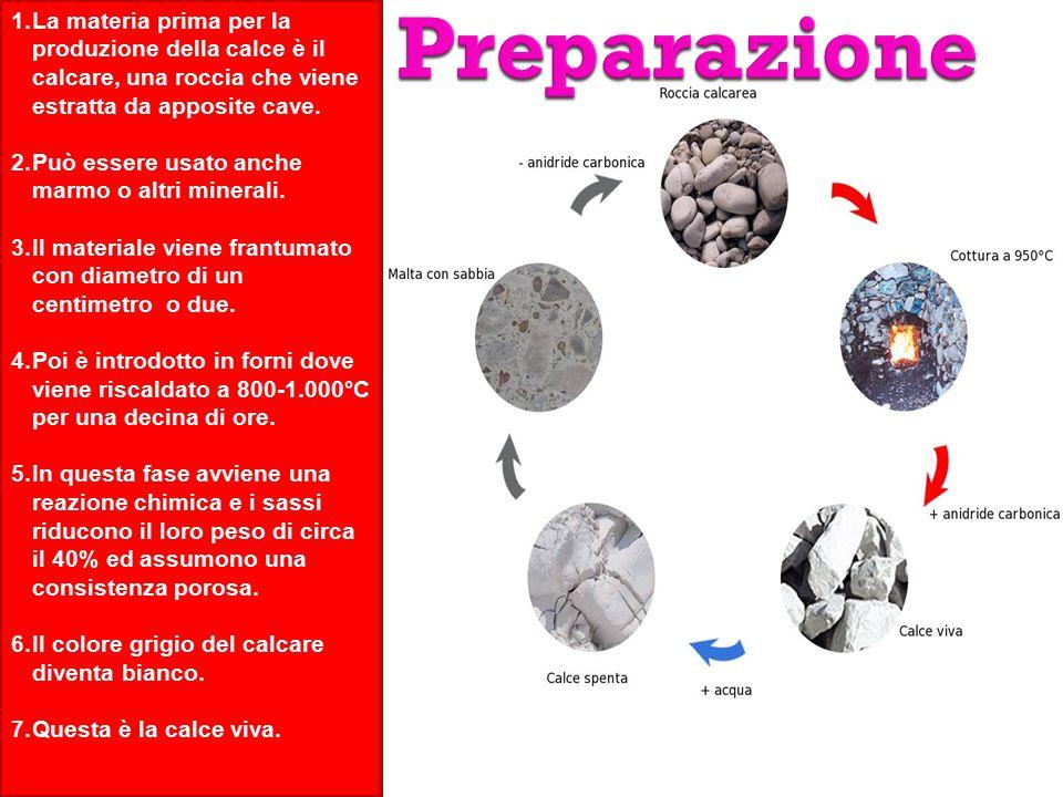 1.La materia prima per la produzione della calce è il calcare, una roccia che viene estratta da apposite cave.