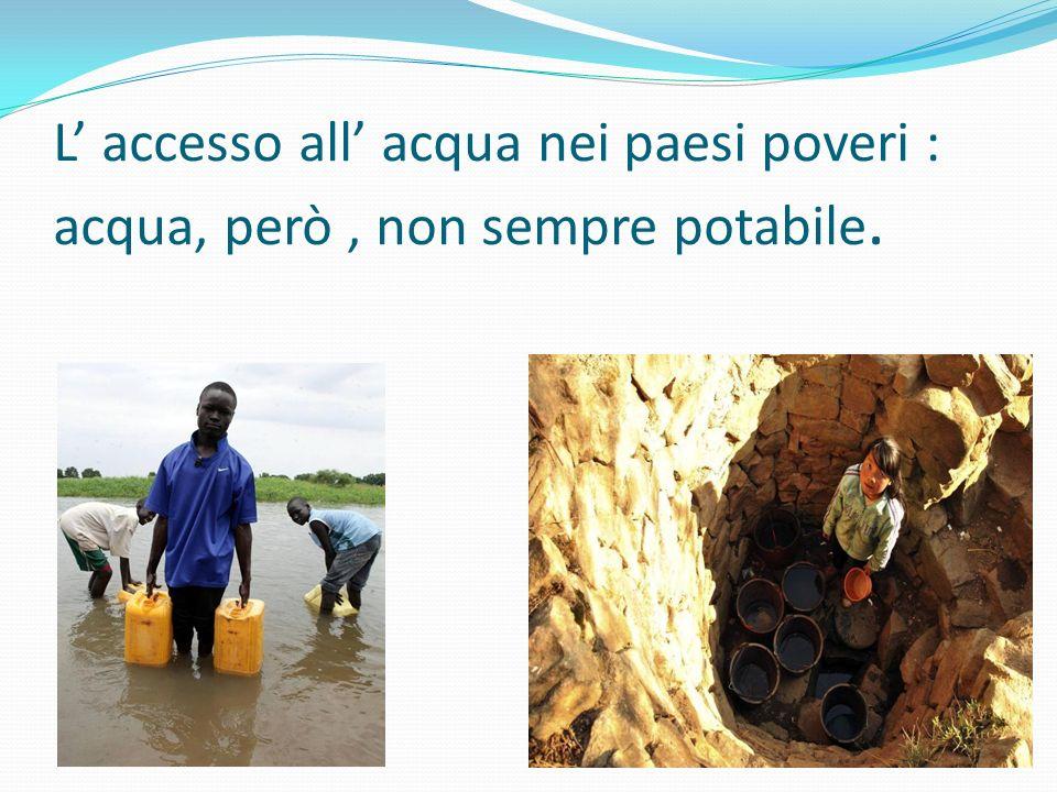 L' accesso all' acqua nei paesi poveri : acqua, però, non sempre potabile.
