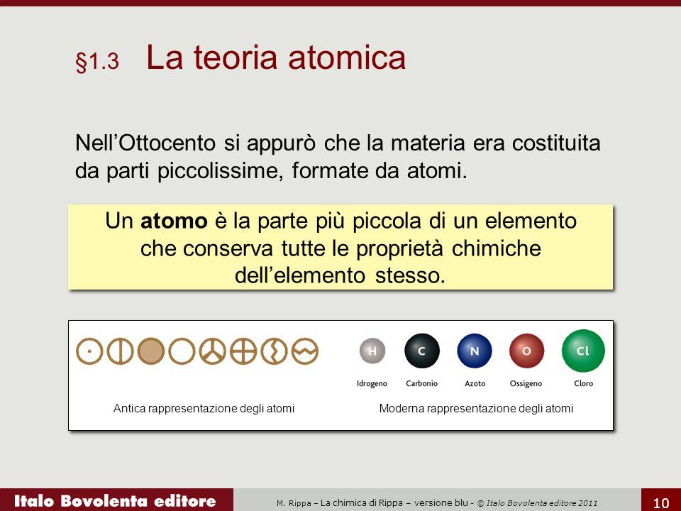 M. Rippa – La chimica di Rippa – versione blu - © Italo Bovolenta editore 2011 10 Nell'Ottocento si appurò che la materia era costituita da parti picc