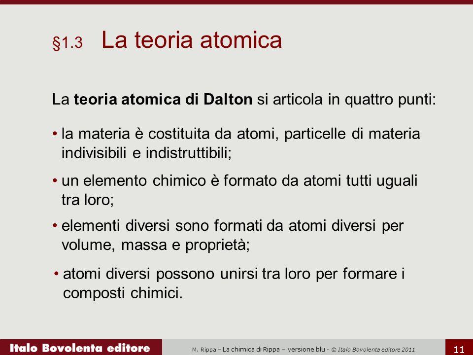 M. Rippa – La chimica di Rippa – versione blu - © Italo Bovolenta editore 2011 11 la materia è costituita da atomi, particelle di materia indivisibili