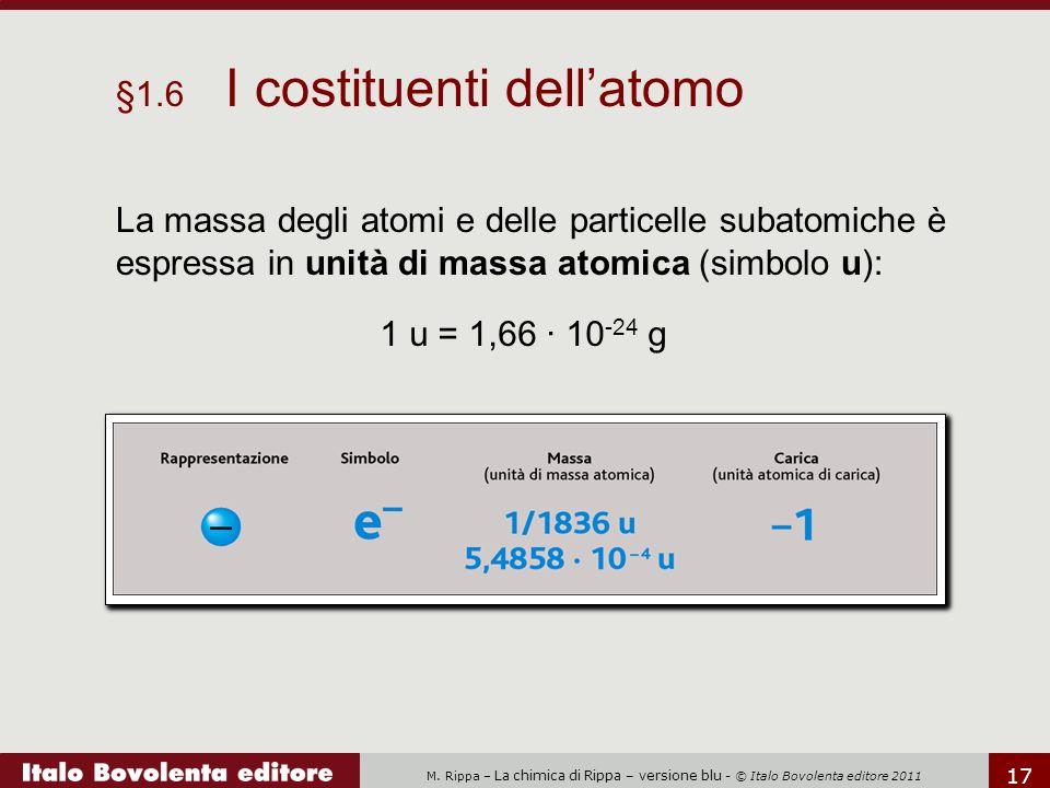 M. Rippa – La chimica di Rippa – versione blu - © Italo Bovolenta editore 2011 17 §1.6 I costituenti dell'atomo La massa degli atomi e delle particell