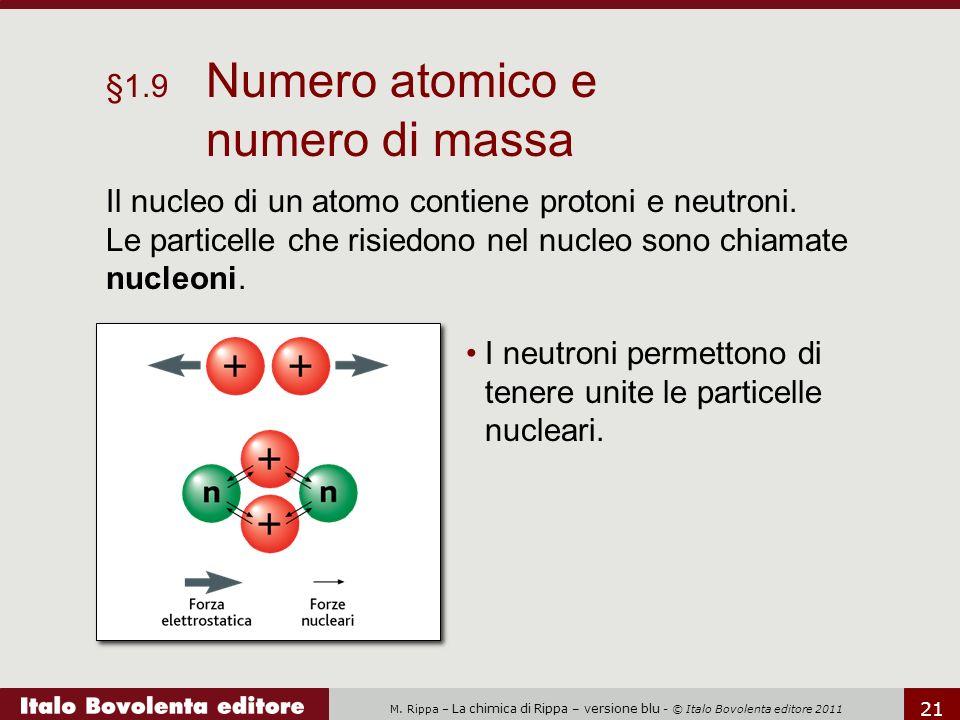 M. Rippa – La chimica di Rippa – versione blu - © Italo Bovolenta editore 2011 21 Il nucleo di un atomo contiene protoni e neutroni. Le particelle che