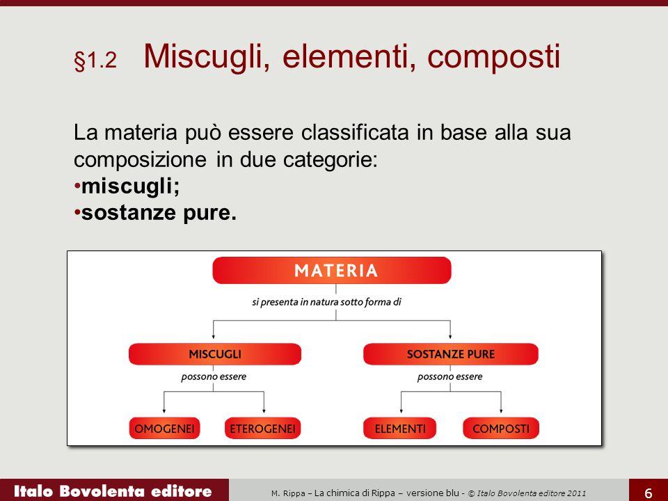 M. Rippa – La chimica di Rippa – versione blu - © Italo Bovolenta editore 2011 6 La materia può essere classificata in base alla sua composizione in d
