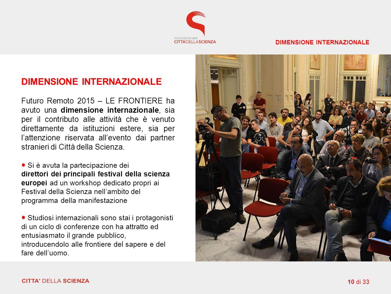 DIMENSIONE INTERNAZIONALE Futuro Remoto 2015 – LE FRONTIERE ha avuto una dimensione internazionale, sia per il contributo alle attività che è venuto direttamente da istituzioni estere, sia per l'attenzione riservata all'evento dai partner stranieri di Città della Scienza.