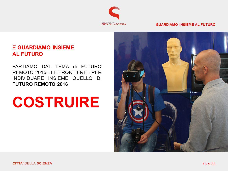 E GUARDIAMO INSIEME AL FUTURO PARTIAMO DAL TEMA di FUTURO REMOTO 2015 - LE FRONTIERE - PER INDIVIDUARE INSIEME QUELLO DI FUTURO REMOTO 2016 COSTRUIRE GUARDIAMO INSIEME AL FUTURO 13 di 33