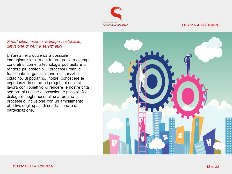 Smart cities: ricerca, sviluppo sostenibile, diffusione di beni e servizi etici Un'area nella quale sarà possibile immaginare la città del futuro grazie a esempi concreti di come la tecnologia può aiutare a rendere più sostenibili i processi urbani e funzionale l'organizzazione dei servizi al cittadino.