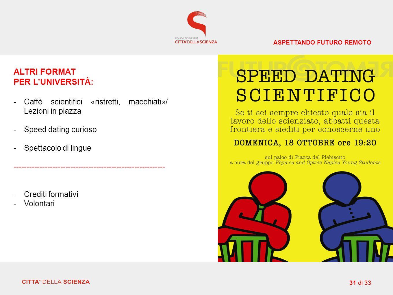 ALTRI FORMAT PER L'UNIVERSITÀ: -Caffè scientifici «ristretti, macchiati»/ Lezioni in piazza -Speed dating curioso -Spettacolo di lingue ----------------------------------------------------------- -Crediti formativi -Volontari ASPETTANDO FUTURO REMOTO 31 di 33