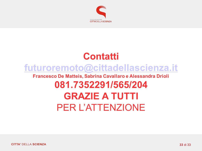 Contatti futuroremoto@cittadellascienza.it Francesco De Matteis, Sabrina Cavallaro e Alessandra Drioli 081.7352291/565/204 GRAZIE A TUTTI PER L'ATTENZIONE 33 di 33