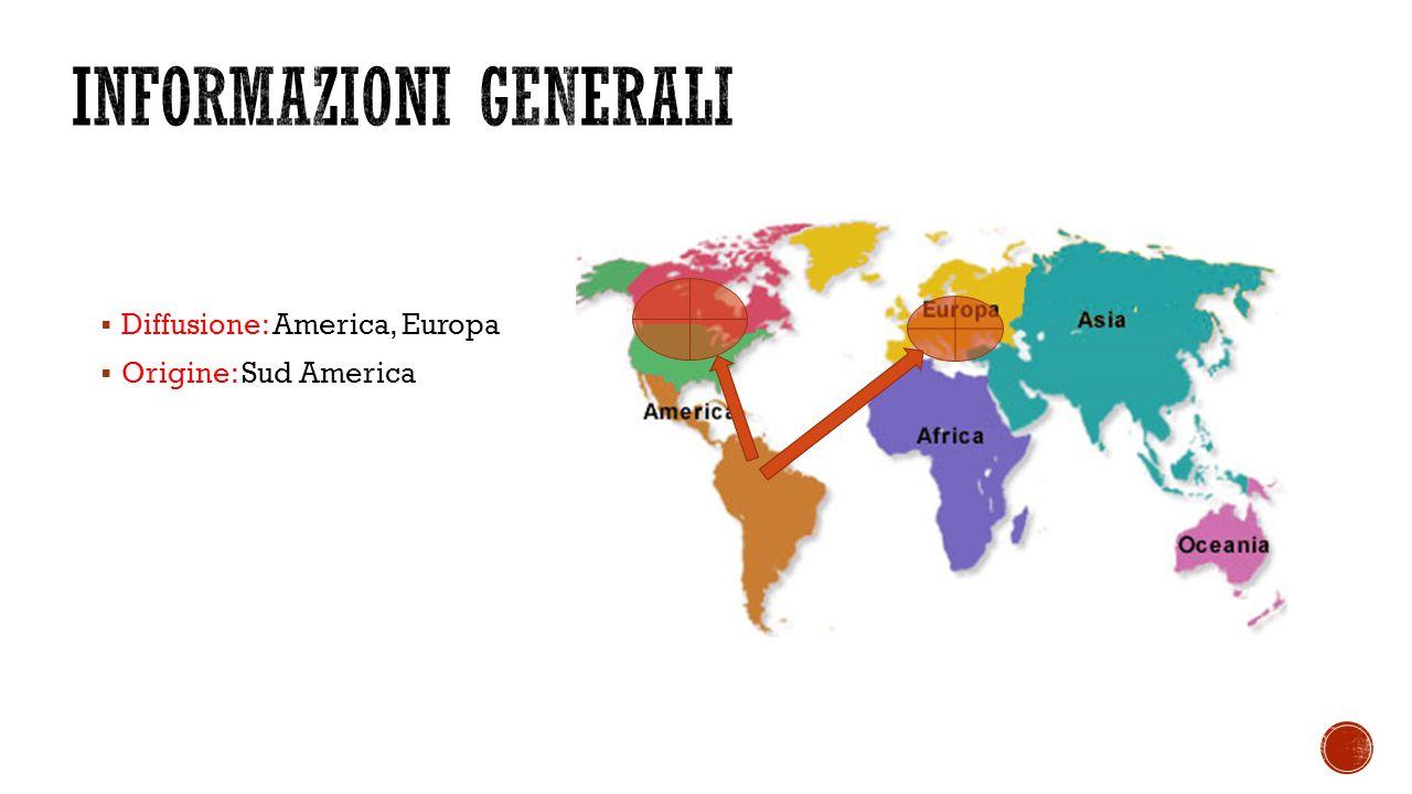  Diffusione: America, Europa  Origine: Sud America