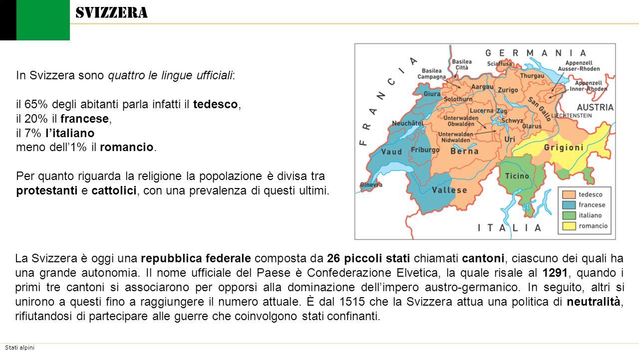 Stati alpini Svizzera In Svizzera sono quattro le lingue ufficiali: il 65% degli abitanti parla infatti il tedesco, il 20% il francese, il 7% l'italia