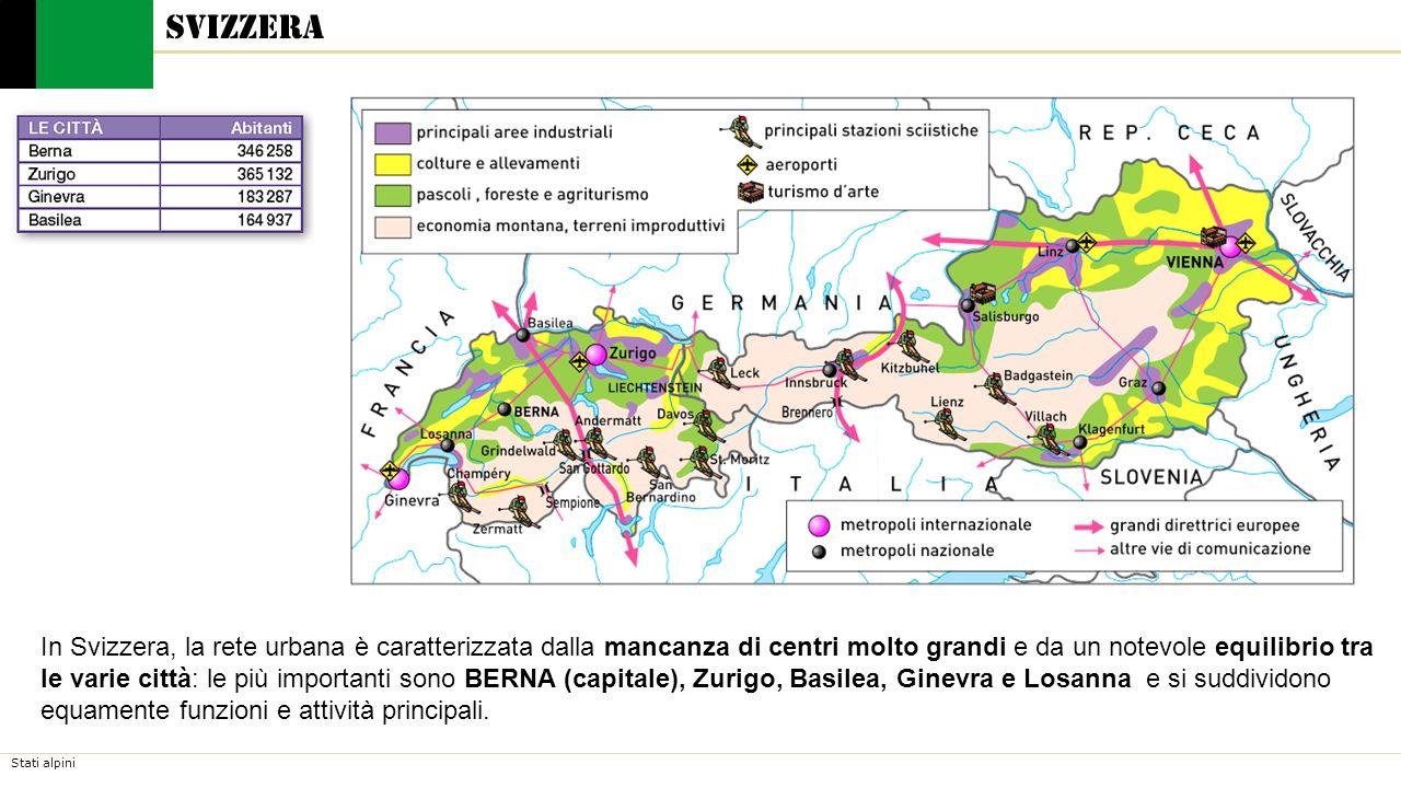 Stati alpini Svizzera In Svizzera, la rete urbana è caratterizzata dalla mancanza di centri molto grandi e da un notevole equilibrio tra le varie città: le più importanti sono BERNA (capitale), Zurigo, Basilea, Ginevra e Losanna e si suddividono equamente funzioni e attività principali.