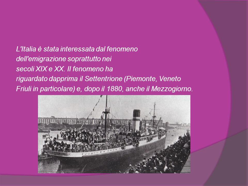 In particolare, dai porti del Mar Mediterraneo partirono molte navi con migliaia di italiani diretti in America.