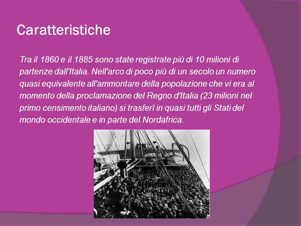 Si può distinguere l emigrazione italiana in due grandi periodi.