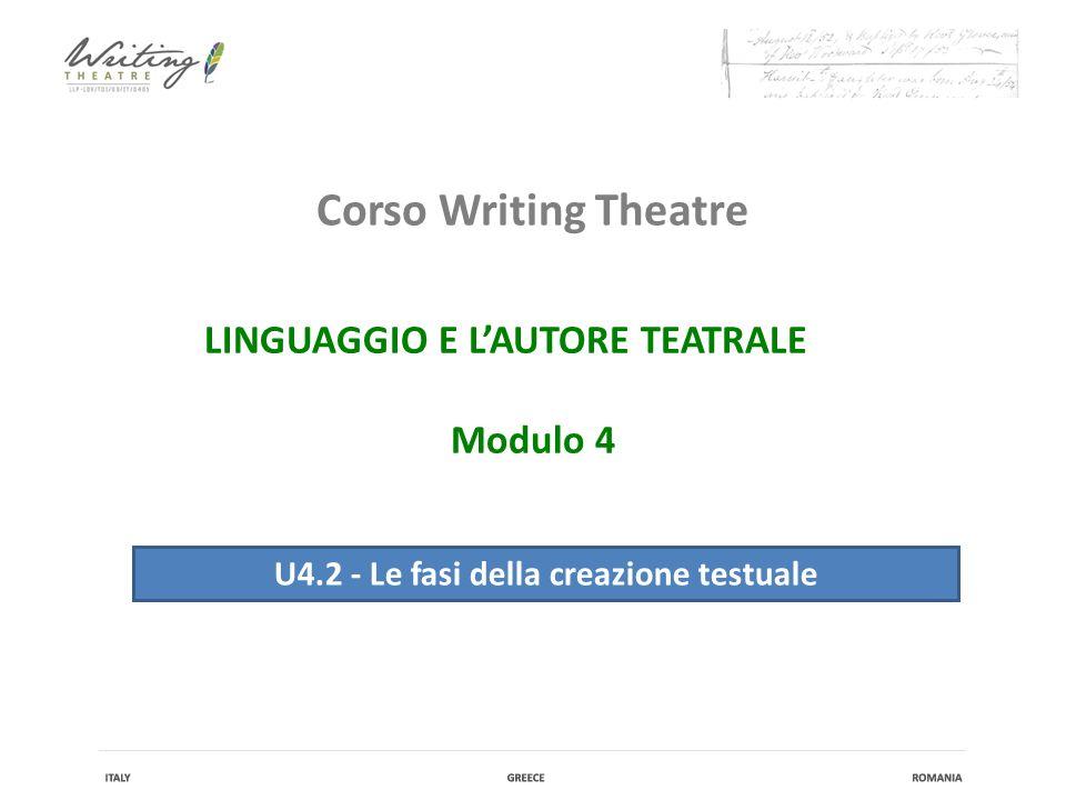 Corso Writing Theatre U4.2 - Le fasi della creazione testuale IL LINGUAGGIO E L'AUTORE TEATRALE Modulo 4